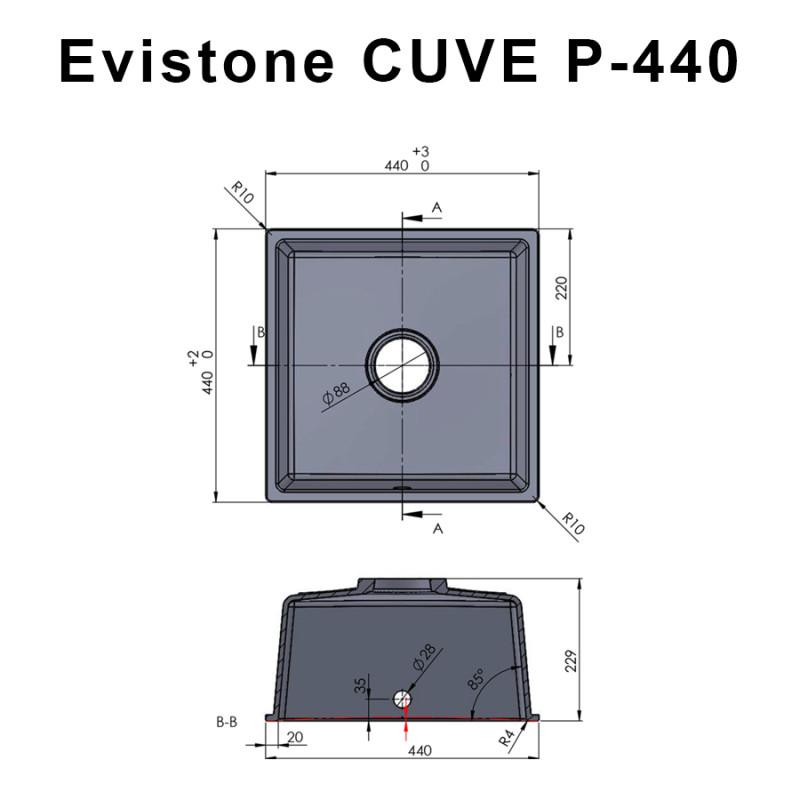 Cuve EVISTONE à encastrer ou à fixer par dessous 44x44 cm - Nero
