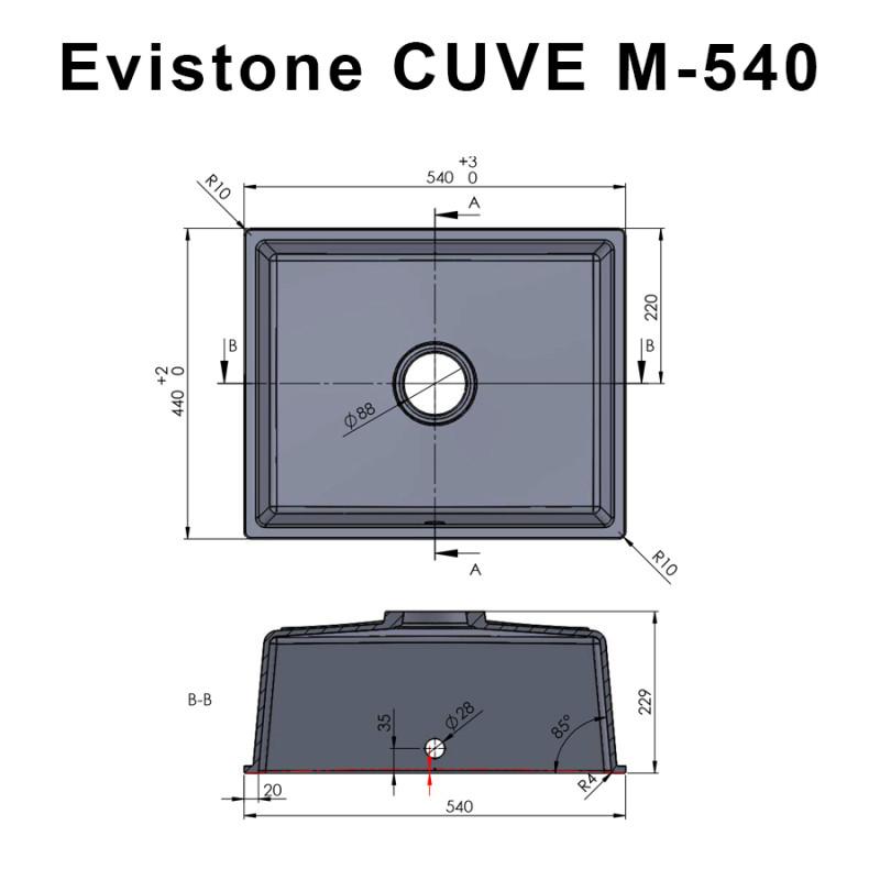 Cuve EVISTONE à encastrer ou à fixer par dessous 54x44 cm - Nero