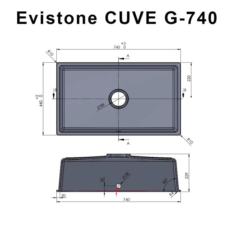 Cuve EVISTONE à encastrer ou à fixer par dessous 74x44 cm - Nero