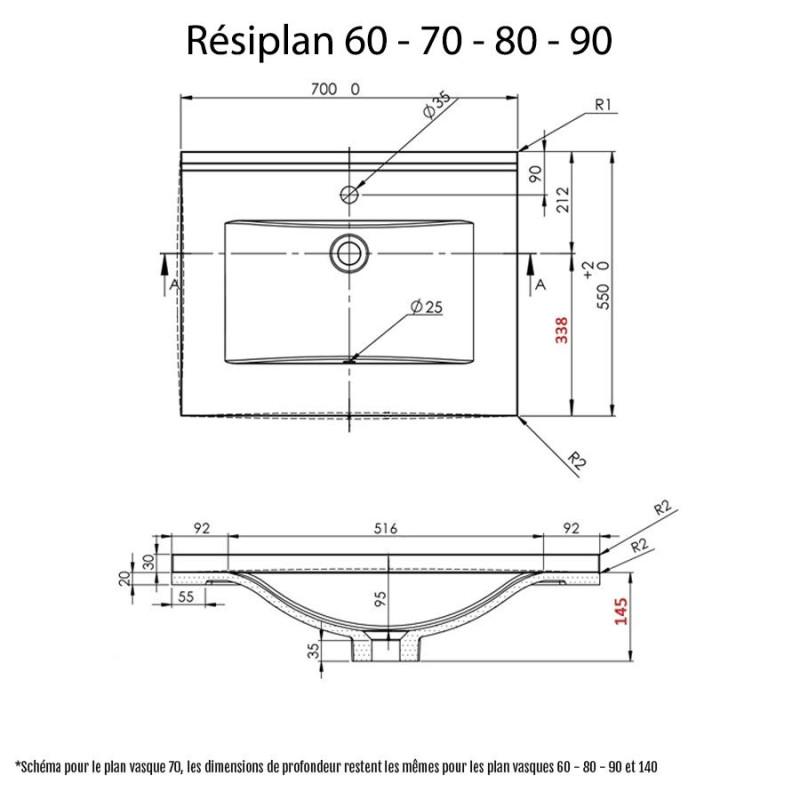 Plan simple vasque en résine de synthèse gris RÉSIPLAN - 70 cm