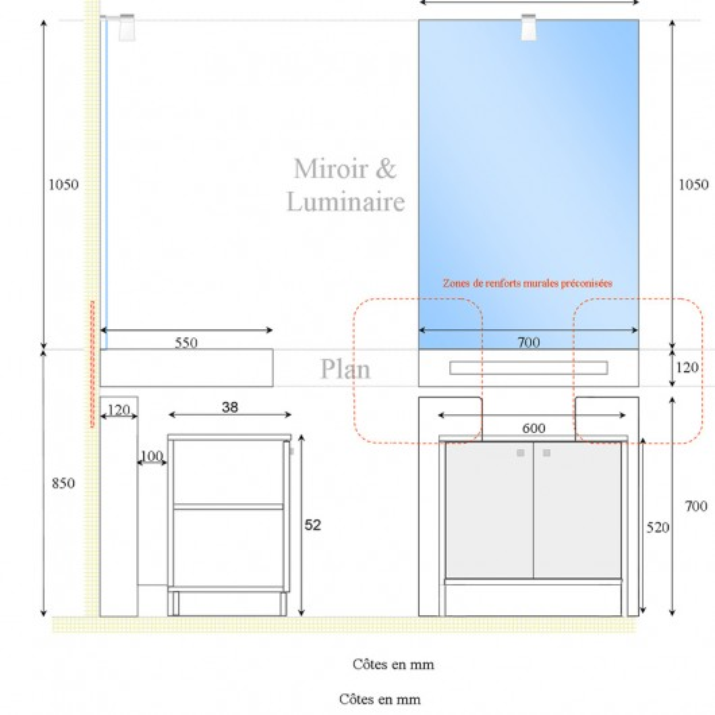 Meuble LEA 70 cm avec plan vasque, miroir et caisson sur pieds - blanc brillant