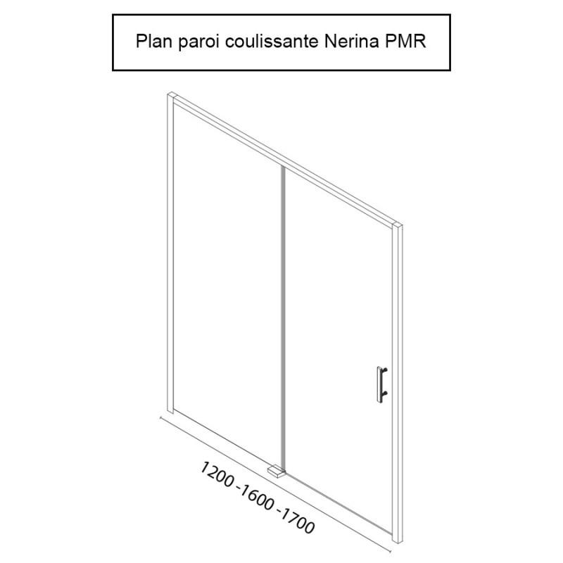 Porte de douche d'angle avec paroi coulissante NERINA PMR - 120m