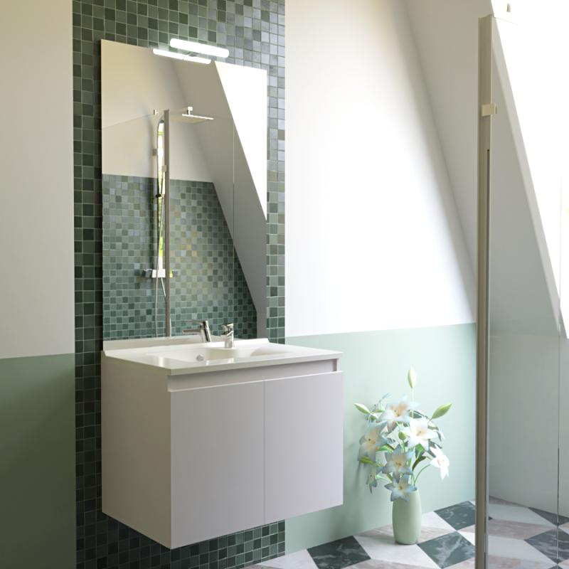 Meuble PROLINE 70 cm avec plan vasque et miroir - blanc brillant
