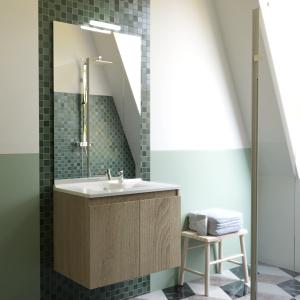 Meuble PROLINE 80 cm avec plan vasque et miroir - Cambrian oak