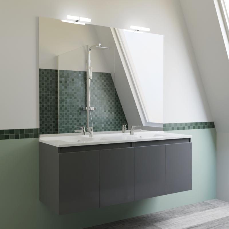 meuble proline 140 cm avec plan vasque et miroir gris brillant cuisibane. Black Bedroom Furniture Sets. Home Design Ideas