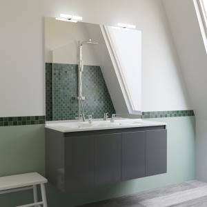 Meuble PROLINE 120 cm avec plan vasque et miroir - Gris brillant