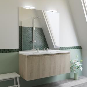 Meuble PROLINE 120 cm avec plan vasque et miroir - Cambrian oak