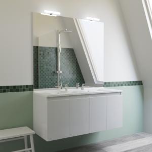 Meuble PROLINE 120 cm avec plan vasque et miroir - blanc brillant
