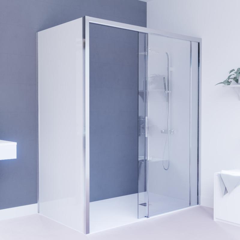 Porte de douche d'angle avec paroi coulissante NERINA PMR - 160x65 cm