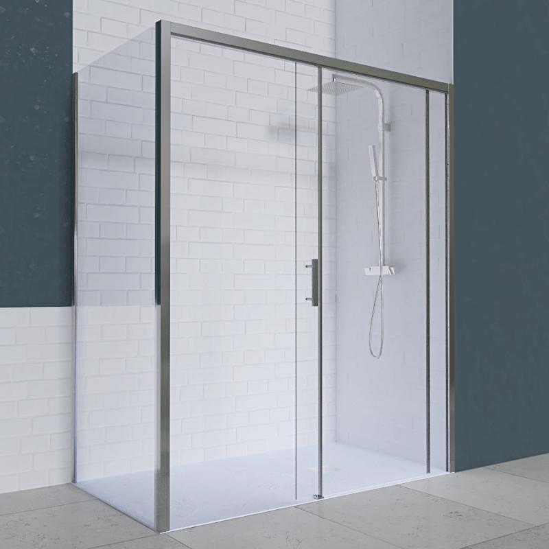 Porte de douche d'angle avec paroi coulissante NERINA PMR - 120x80 cm