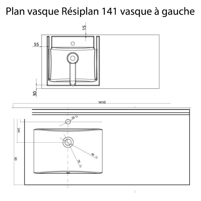 Plan vasque RÉSIPLAN - 141 cm avec vasque déportée à gauche