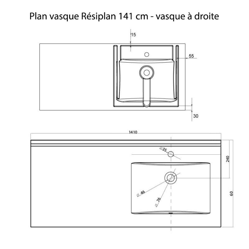 Plan vasque RÉSIPLAN - 141 cm avec vasque déportée à droite