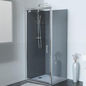Paroi de douche d'angle avec porte pivotante NERINA - 90x90 cm