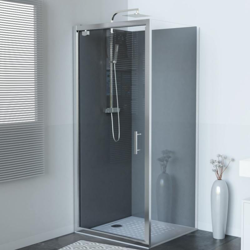 paroi de douche d 39 angle avec porte pivotante nerina 90x90 cm cuisibane. Black Bedroom Furniture Sets. Home Design Ideas