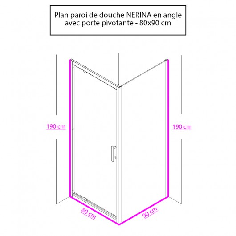 Paroi de douche d'angle avec porte pivotante NERINA - 80x90 cm