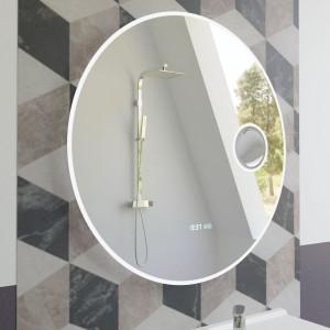 Miroir RONDINARA Ø 60cm - éclairage LED, système anti-buée, horloge et loupe