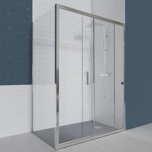 Porte de douche d'angle avec paroi coulissante NERINA - 160x90 cm