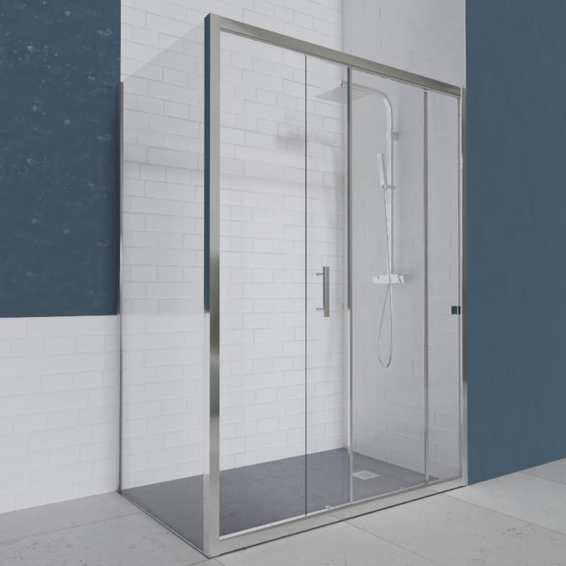 Porte de douche d 39 angle avec paroi coulissante nerina 170x80 cm cuisibane - Porte de douche d angle coulissante ...