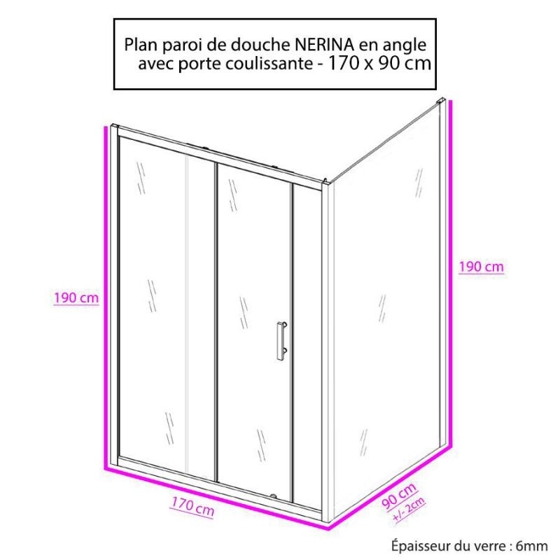 Porte de douche d'angle avec paroi coulissante NERINA - 170x90 cm