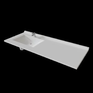 Plan vasque RESIPLAN - 151 cm avec vasque déportée à gauche