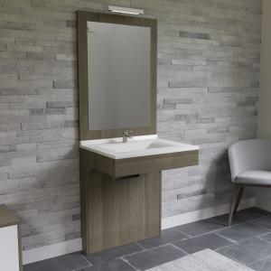 Meuble ALTEA 70 cm avec plan vasque et miroir - Décor vienna