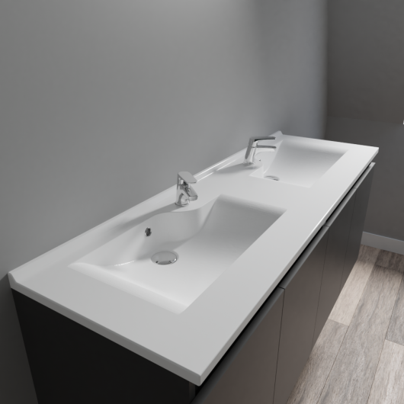 Plan double vasque design RÉSILOGE - 120 cm - Cuisibane