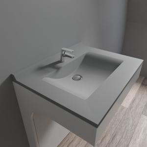 Plan simple vasque en résine de synthèse gris RESIPLAN - 70 cm