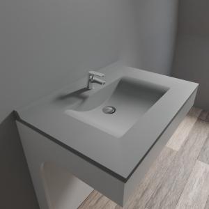 Plan simple vasque en résine de synthèse gris RESIPLAN - 80 cm