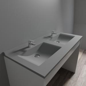 Plan double vasque en résine de synthèse gris RÉSIPLAN - 120 cm