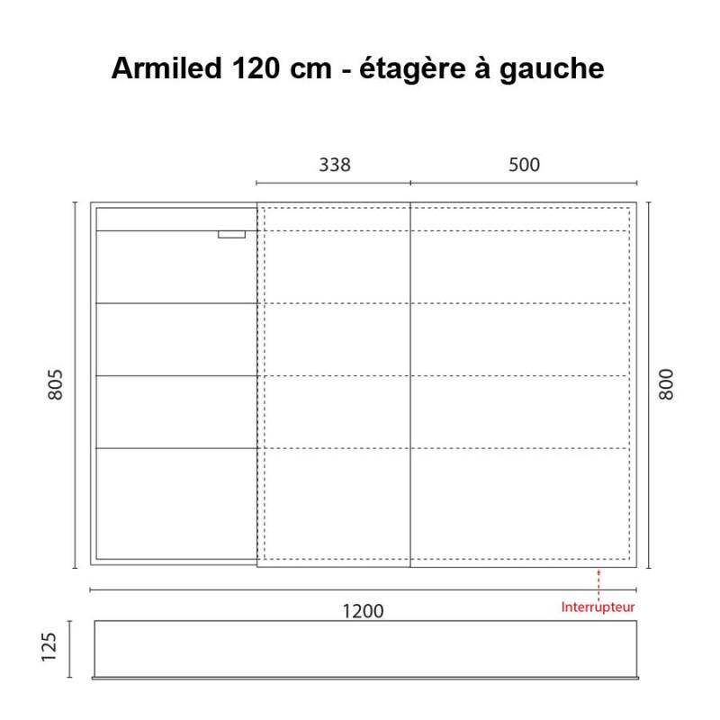 Miroir armoirette LED rétro-éclairé portes à droite ARMILED - 120 cm