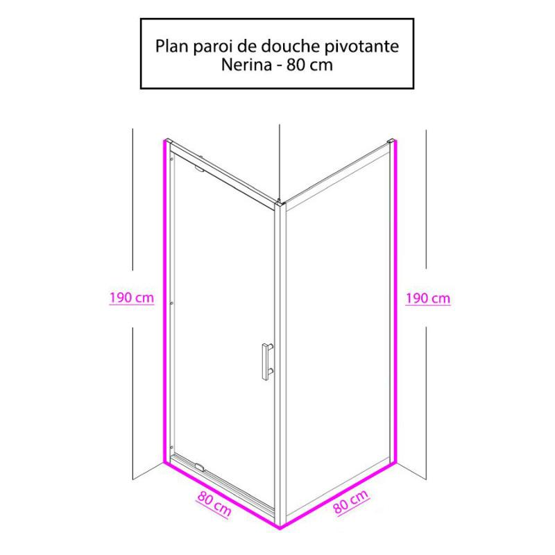 Paroi de douche d'angle avec porte pivotante NERINA - 80x80 cm
