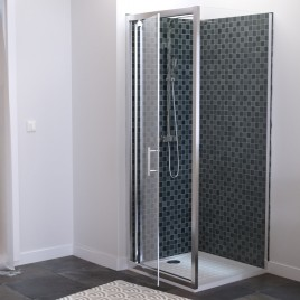 Paroi de douche d'angle avec porte pivotante avec retour sans cadre NERINA - 80x80 cm