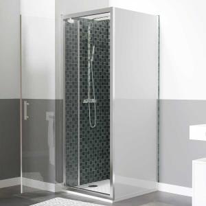 Paroi de douche d'angle avec porte pivotante et retour blanc NERINA - 80x90 cm