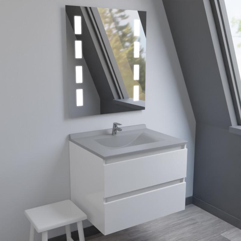 Meuble ARLEQUIN 70x55 cm avec plan vasque et miroir MOSAIC - Coloris au choix