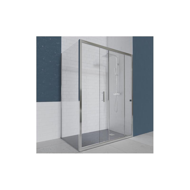 Porte de douche d 39 angle avec paroi coulissante nerina Porte coulissante 120 cm de large
