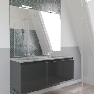 Meuble PROLINE 140 cm avec plan vasque gris et miroir - Gris brillant
