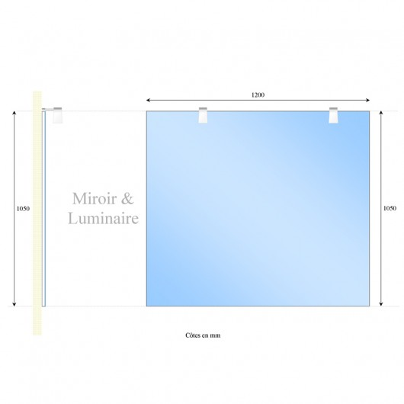 Miroir MIRCOLINE avec appliques lumineuses -  120x105cm