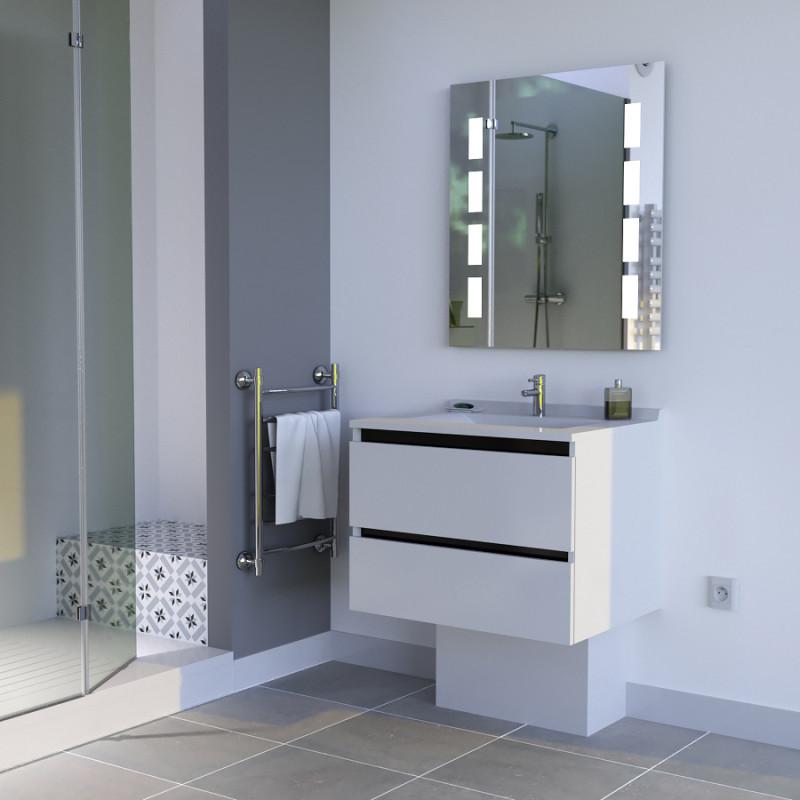 Meuble ARLEQUIN 70x55 cm avec plan vasque et miroir PRESTIGE - Coloris au choix