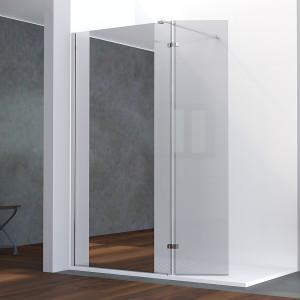 Paroi de douche avec miroir BAYA verre 8 mm avec retour - 120+40 x 200cm