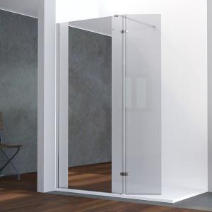 Paroi de douche avec miroir BAYA verre 8 mm avec retour - 100+40 x 200cm