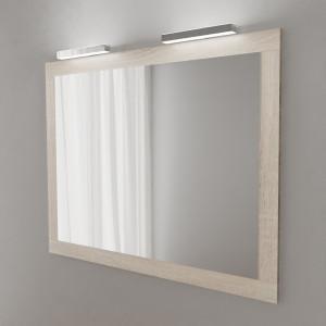 Miroir MIRALT décor cambrian oak avec appliques LED - 120x109 cm