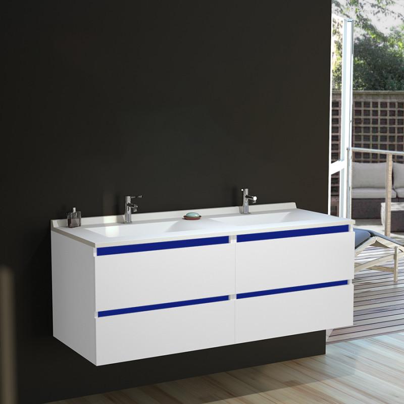 Caisson double vasque ARLEQUIN 140x55 cm avec plan vasque - Coloris au choix