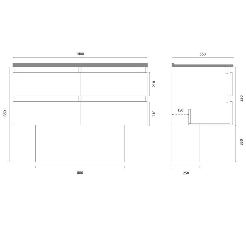 Meuble double vasque ARLEQUIN 140x55 cm avec plan vasque et miroir ELEGANCE - Coloris au choix