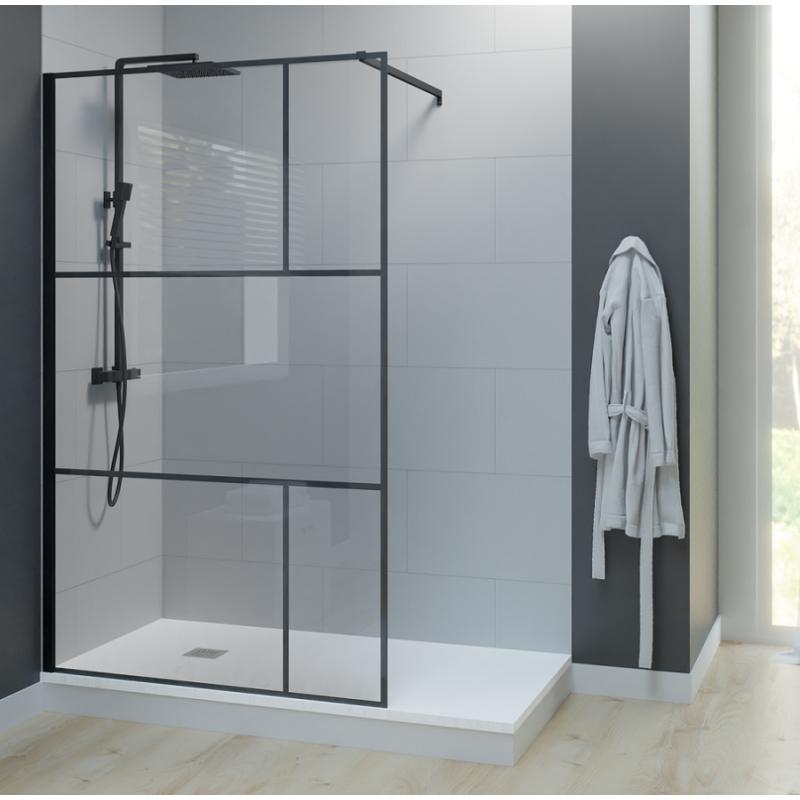 Paroi de douche industrielle noire Atelia verre 8 mm - 100x200 cm