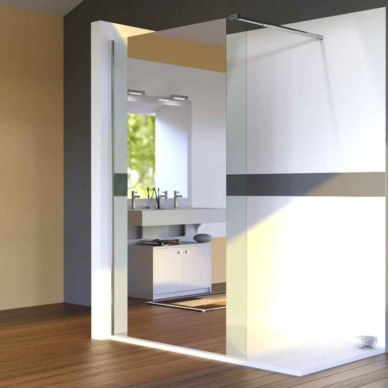 Paroi de douche fixe miroir BAYA verre 8 mm - 120x200 cm