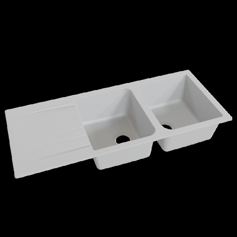 Évier RESIROC avec 2 bacs + égouttoir 118cm - gris