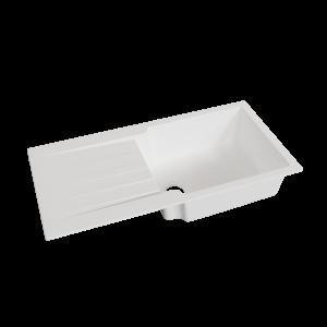 Évier RESIROC avec 1 bac + égouttoir 100cm - Blanc