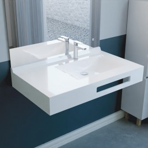 Vasque suspendue carrée EVIDENCE 90 cm déporté à droite- blanc