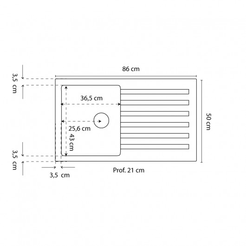 Évier RESIROC avec 1 bac + égouttoir 86cm - Blanc