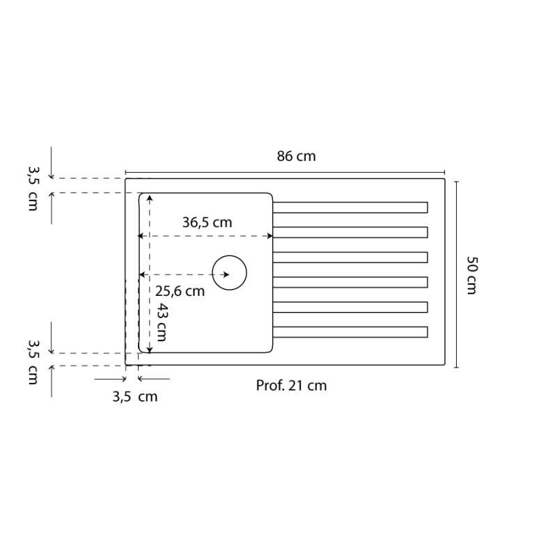Évier RESIROC avec 1 bac + égouttoir 86cm - Noir